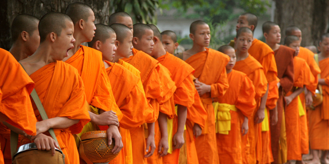 Young Cambodian monks in orange robes