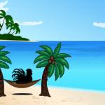 graphic of chicken in hammock on beach