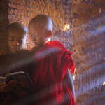 Buddhist monks reading a book