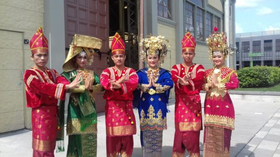 West Sumatra performers in traditional gear