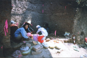 crew in archaeological dig pit