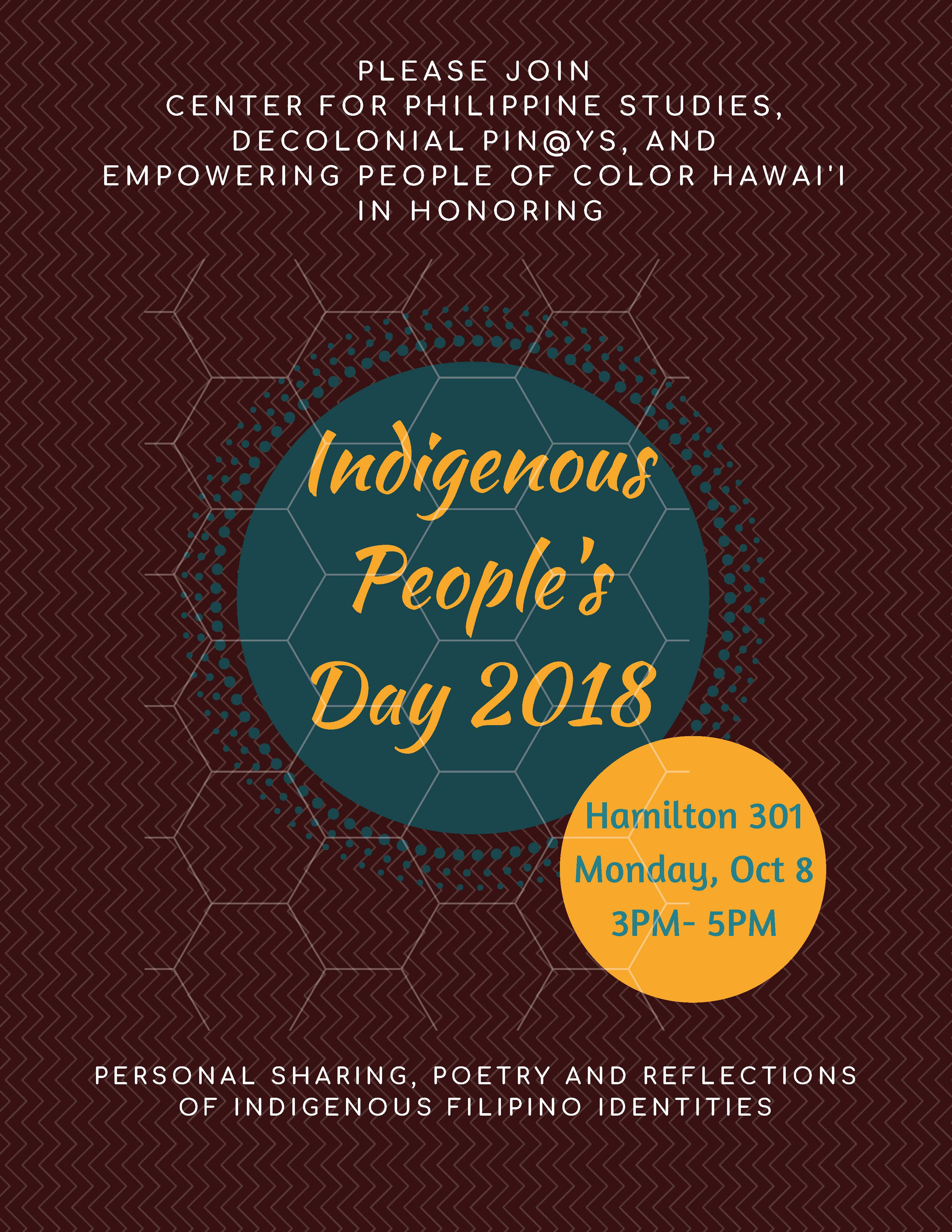 Indigenous Peoples Day 2018 performances, Hamilton 301 on 10/8 from 3-5pm