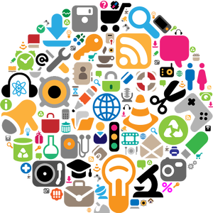 Clip art of a circle of random symbols of items ranging from headphones, turntables, scissors, microscope, camera, padlock, coffee cup, shopping cart, spanner (wrench), radio, envelope, atomic symbol, light bulb, etc...